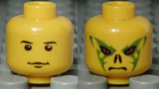 Scarecrow Minifig LEGO Head w// Red Eyes /& Stitched Mouth Pattern - Tan