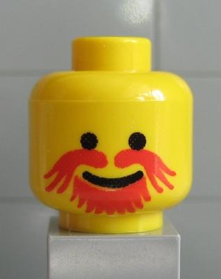 Lego Yellow Minifig Head Dark Orange Eyebrows Spot under Eye Lopsided Open Grin