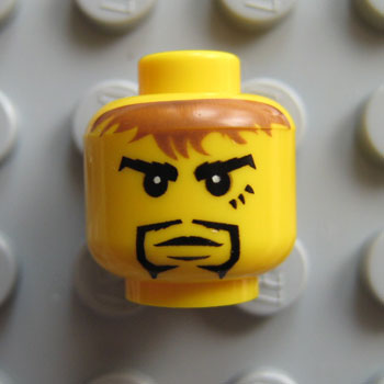 LEGO Yellow Minfiigure Head with Curly Eyebrows and Black Goatee Pattern