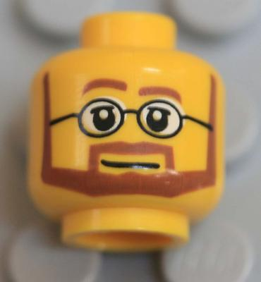 LEGO NEW DUAL SIDED FACE WITH BROWN BEARD BUSHY EYEBROWS SMILE AND SCOWL
