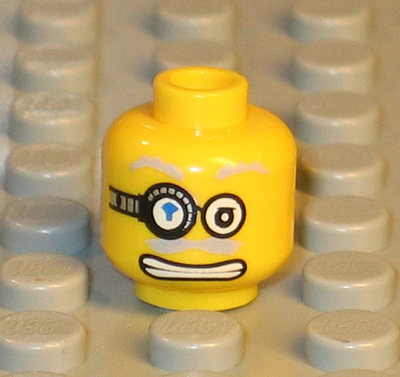 Minifig Head Alien with Green Hair Copper Eyepiece and Headset LEGO