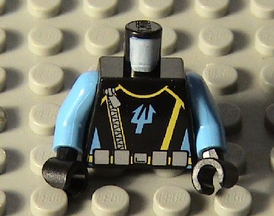 Lego New White Minifigure Torso Police Shirt Black Tie Silver Badge Black Belt